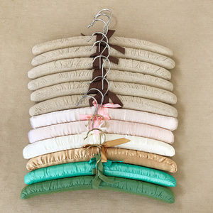 Other - 12 Muslin & Multi-colored Satin Padded Hangers